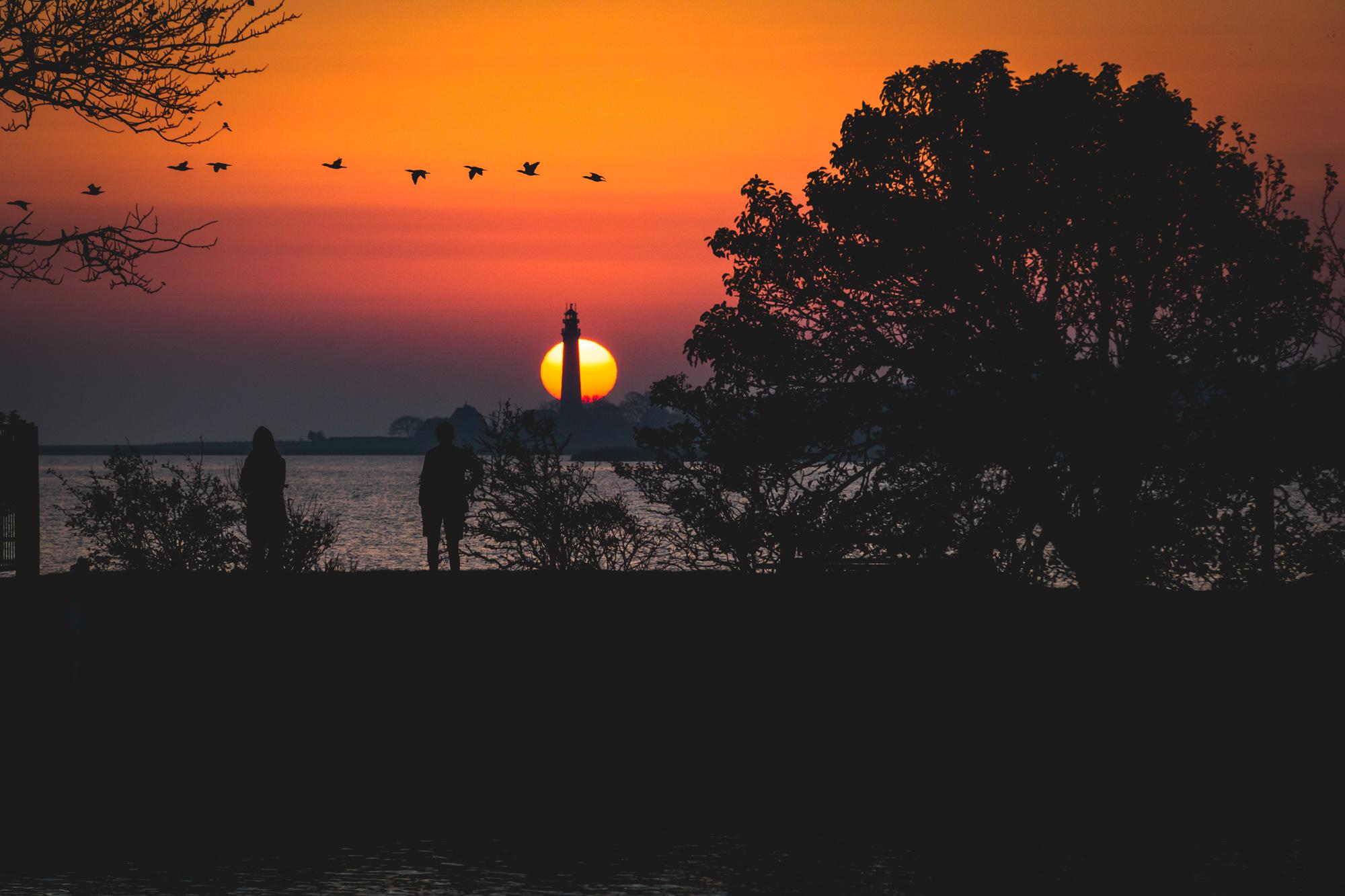 Sonnenuntergang Orth Leuchtturm Flügge