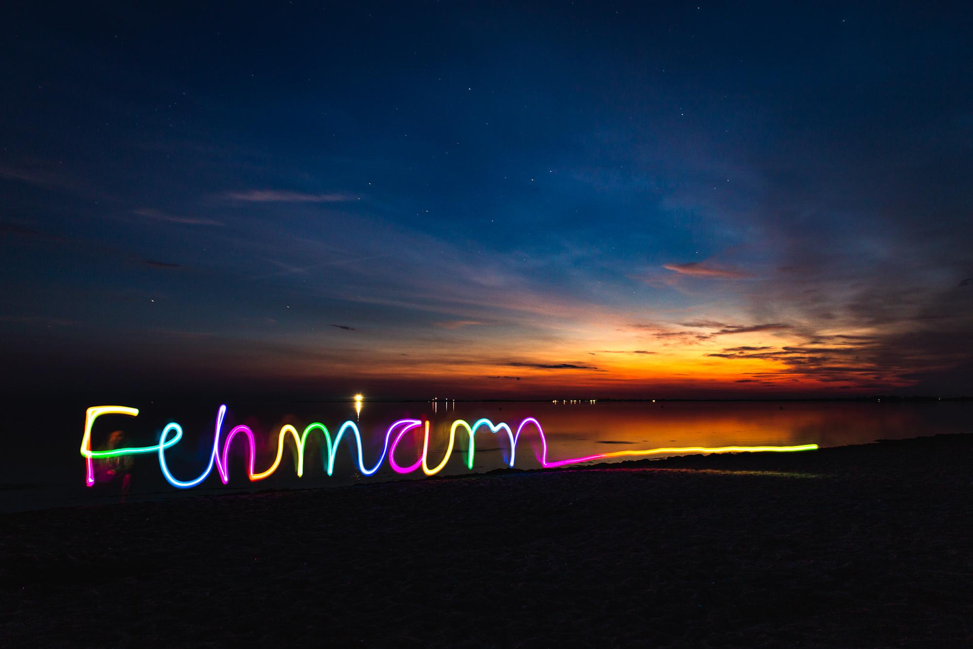 Lightpainting Fehmarn Sonnenuntergang
