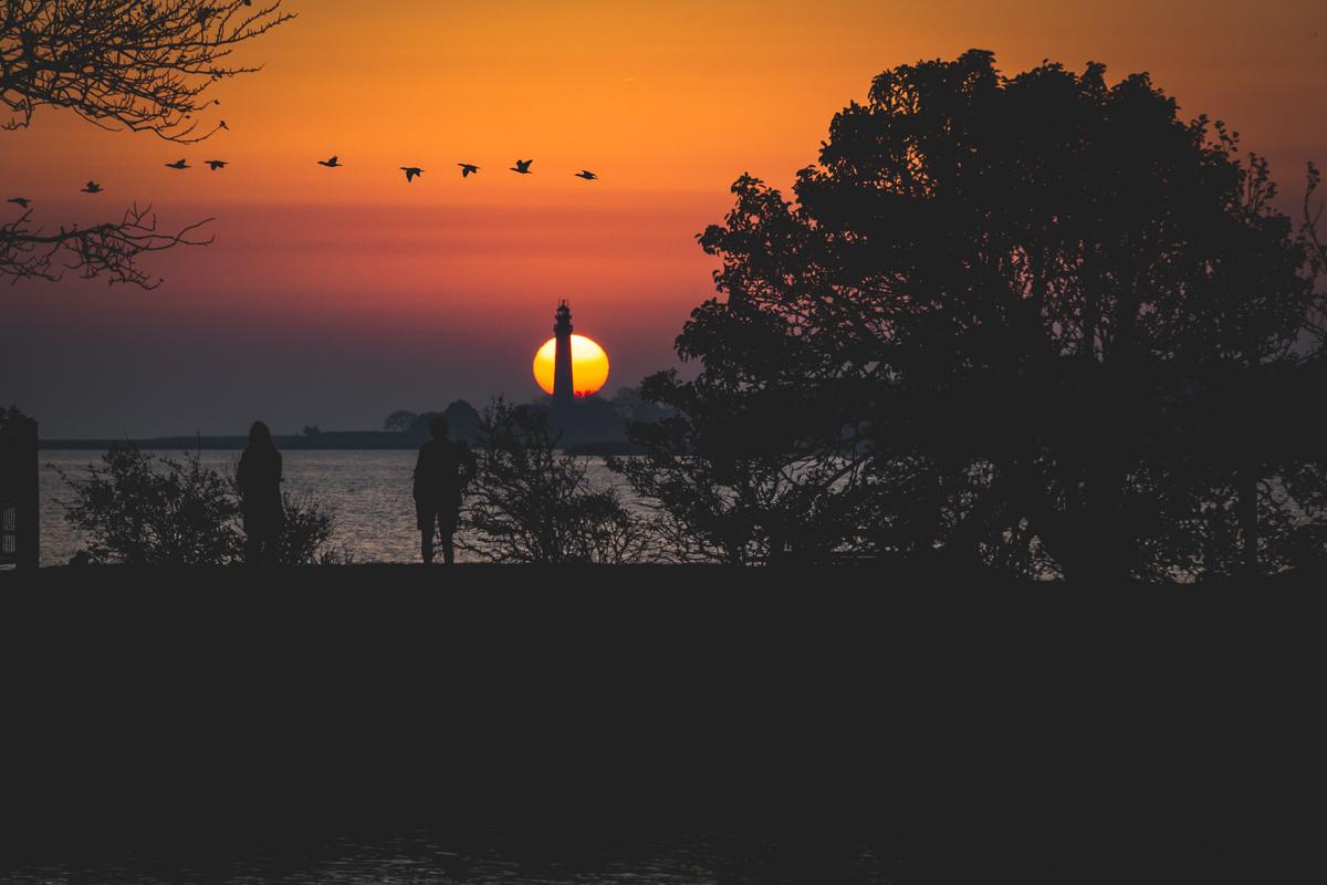 Flügger Leuchtturm Sonnenuntergang